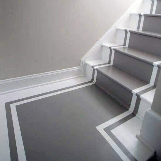 Top 70 Best Painted Stairs Ideas Staircase Designs   Black And White Stairs Design   Farmhouse   Photography   Concept   Disappearing   Grey Background