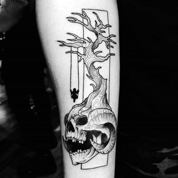Cool Tree Inner Forearm Skull Tattoo For Guys
