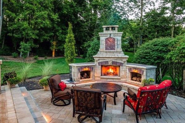 Top 60 Best Patio Fireplace Ideas - Backyard Living Space ... on Fireplace In Yard id=22782