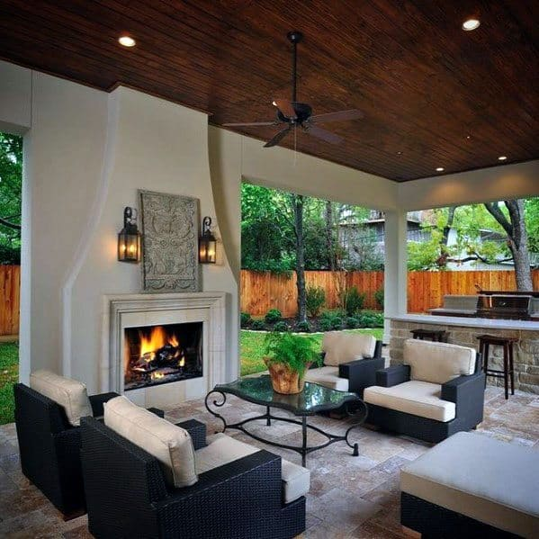 Top 60 Best Patio Fireplace Ideas - Backyard Living Space ... on White Patio Ideas id=70518
