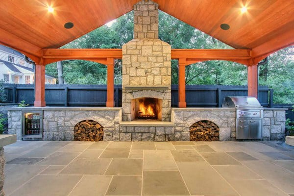 outdoor covered patio with fireplace 70 Outdoor Fireplace Designs For Men - Cool Fire Pit Ideas