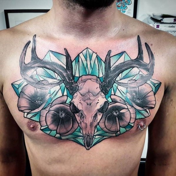 Neo Traditional Wolf Chest Tattoo