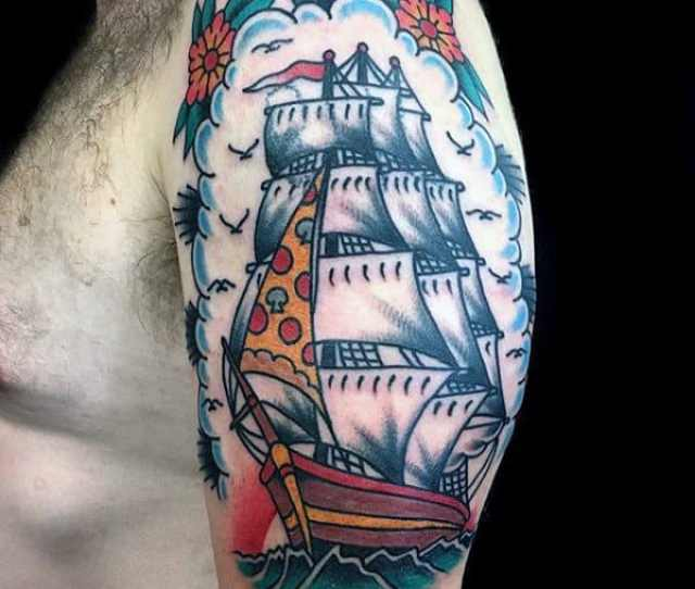 Creative Pizza Sail On Ship Mens Traditional Old School Arm Tattoo Ideas