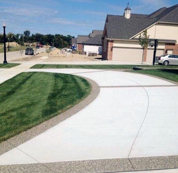 Top 50 Best Concrete Driveway Ideas - Front Yard Exterior ... on Concrete Front Yard Ideas id=80604