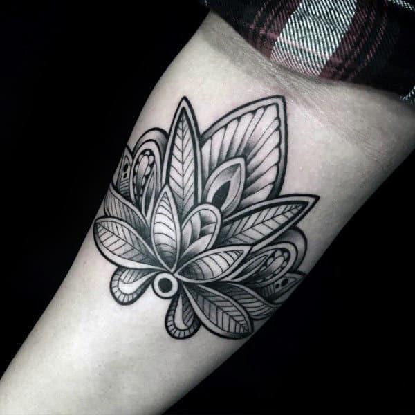 Decorative Flower Lotus Male Inner Arm Tattoo