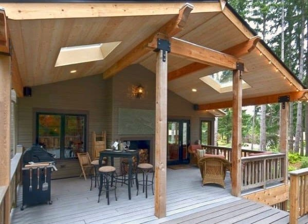 Top 40 Best Deck Roof Ideas - Covered Backyard Space Designs on Deck Over Patio Ideas id=74413