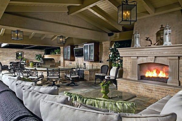 70 Outdoor Fireplace Designs For Men - Cool Fire Pit Ideas on Luxury Backyard Patios id=86648