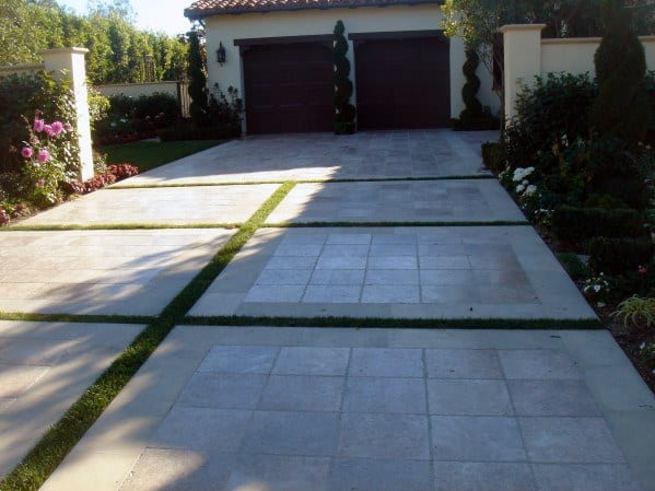 Top 50 Best Concrete Driveway Ideas - Front Yard Exterior ... on Concrete Front Yard Ideas id=82666