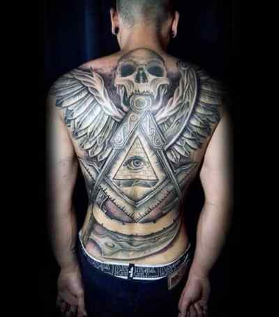 Fantastic Illuminati Tattoo Male Full Back