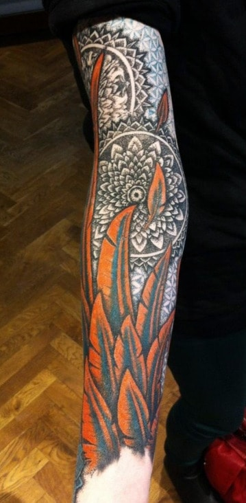 Feather Half Sleeve Tattoo Designs For Men