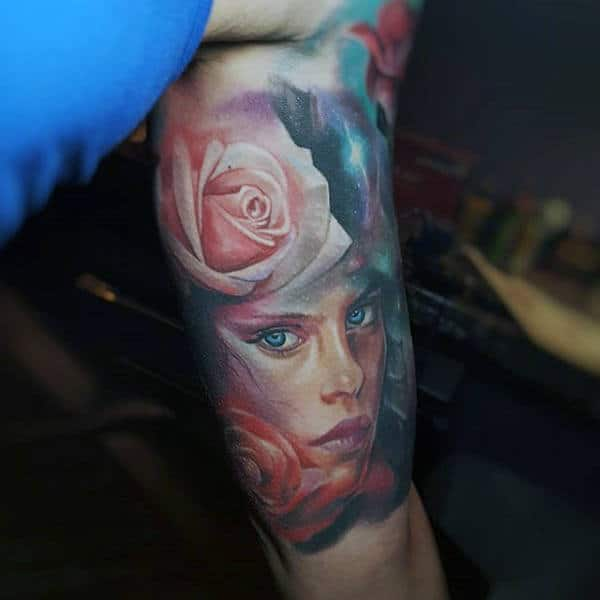 Female Portrait With Rose Flowers Inner Arm Tattoos For Males