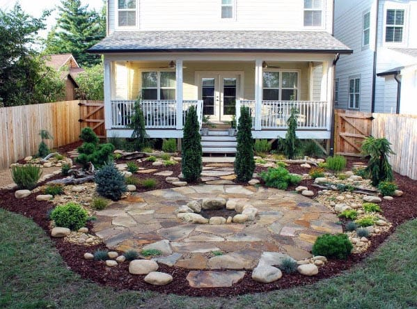 Top 60 Best Flagstone Patio Ideas - Hardscape Designs on Backyard Patio Designs With Fire Pit  id=48398