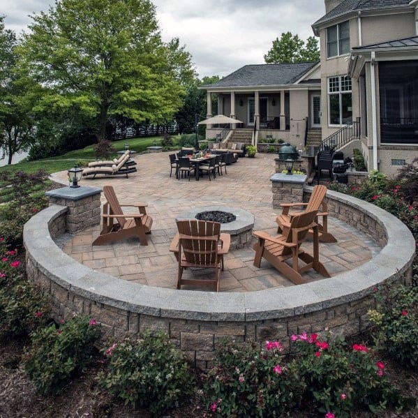 Top 60 Best Paver Patio Ideas - Backyard Dreamscape Designs on Paver Patio Designs With Fire Pit id=27397