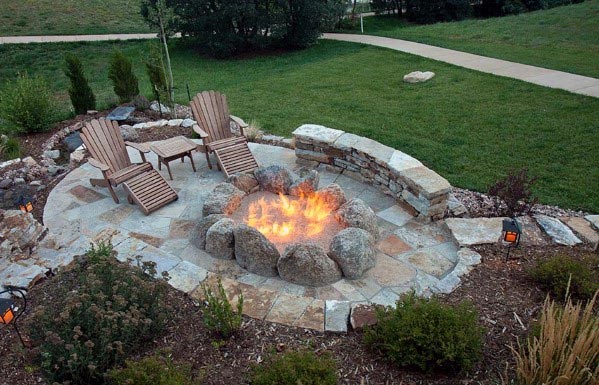 Top 60 Best Flagstone Patio Ideas - Hardscape Designs on Backyard Patio Designs With Fire Pit  id=39550