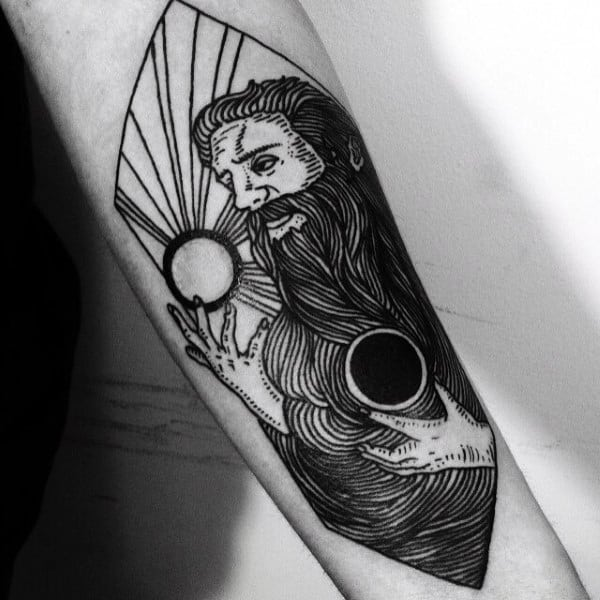 Forearm Sun And Moon Tattoo Designs For Men