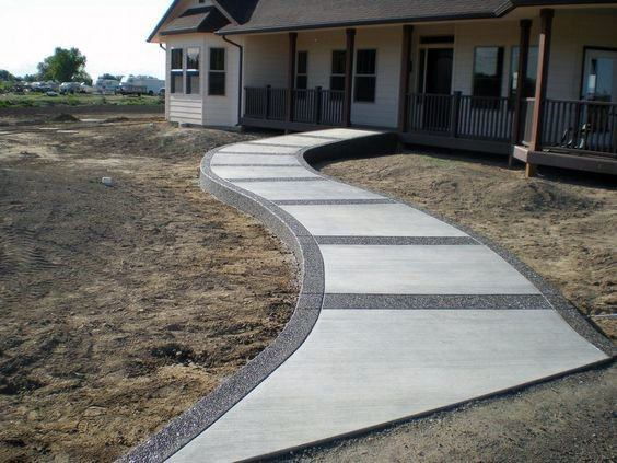 Top 60 Best Concrete Walkway Ideas - Outdoor Path Designs on Concrete Front Yard Ideas id=41797