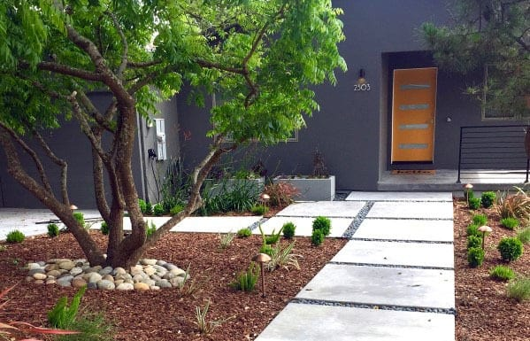 Top 60 Best Concrete Walkway Ideas - Outdoor Path Designs on Concrete Front Yard Ideas id=42887