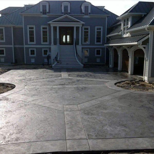 Top 50 Best Concrete Driveway Ideas - Front Yard Exterior ... on Concrete Front Yard Ideas id=62995