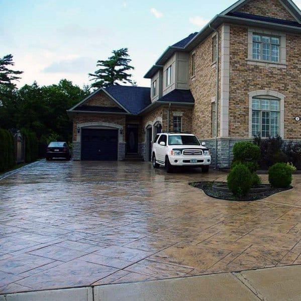 Top 50 Best Concrete Driveway Ideas - Front Yard Exterior ... on Concrete Front Yard Ideas id=76449