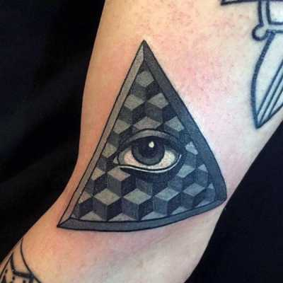 Geometrical Cubes Illuminati Tattoo Male Arms