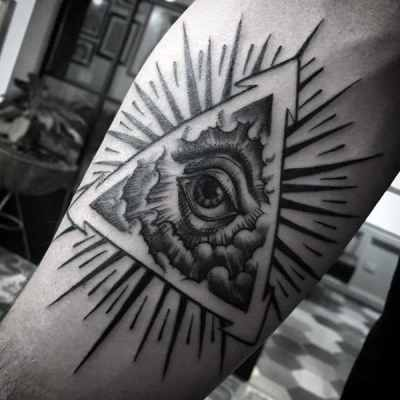Glowing Grey Illuminati Tattoo Male Forearms