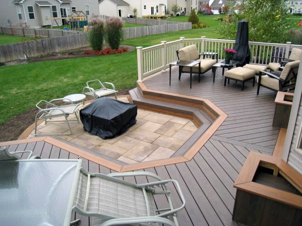 Top 50 Best Deck Fire Pit Ideas - Wood Safe Designs on Paver Patio With Fire Pit Ideas id=62553