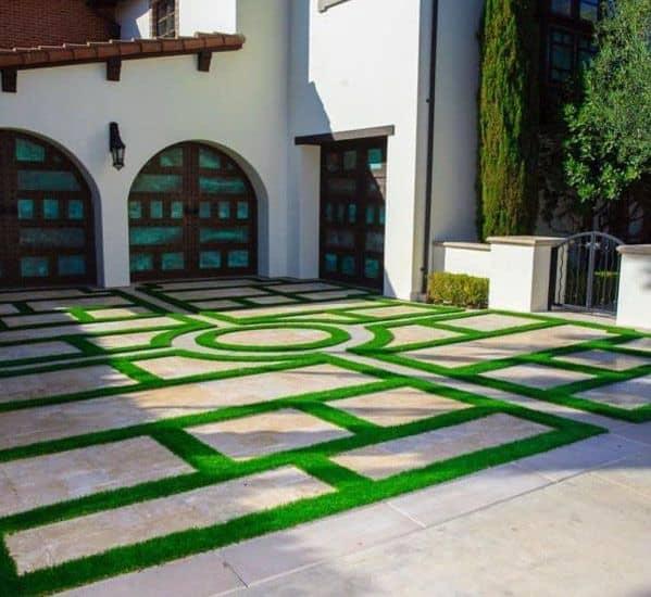 Top 50 Best Concrete Driveway Ideas - Front Yard Exterior ... on Concrete Front Yard Ideas id=30432