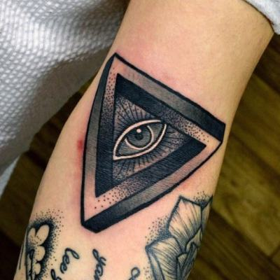 Grey Dotted Design Illuminati Tattoo Male Forearms