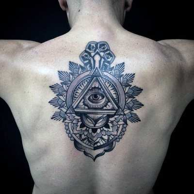 Guys Back Illuminati Tattoo