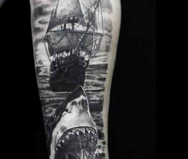 Guys Clipper Ship Tattoos On Forearm