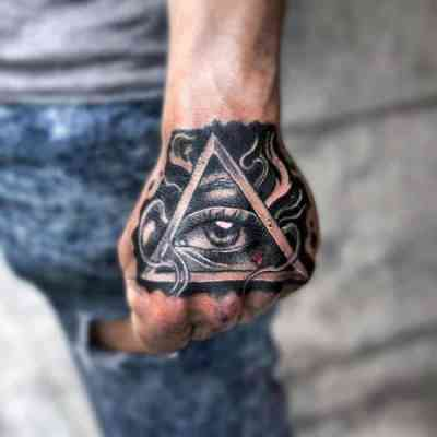 Guys Hands Shiny Black Illuminati Tattoo