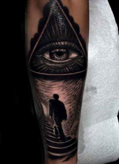 Guys Sleeves Shiny Grey Illuminati Tattoo
