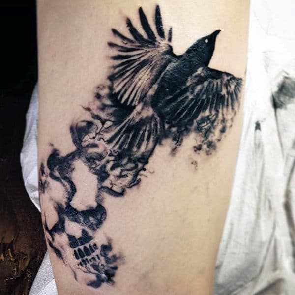 Guy's Smoke Sleeve Tattoo Of Flying Bird