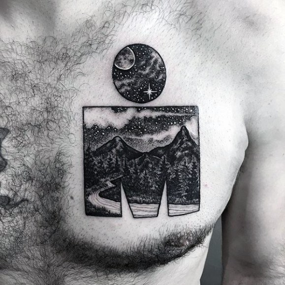 Guys Tattoos With Incredible Iron Man Night Sky Nature Design On Chest