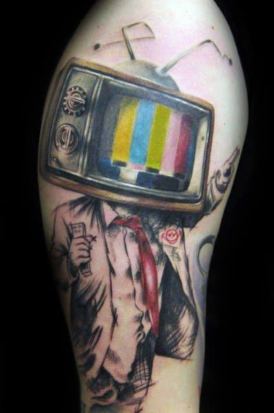 40 TV Tattoos For Men Television Set Design Ideas