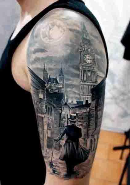 Half Sleeve Guys New Moon Tattoo