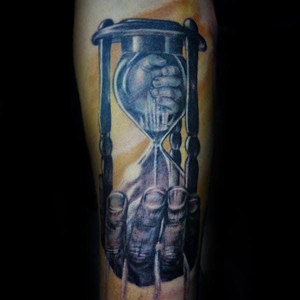 30 Broken Hourglass Tattoo Designs For Men Time Ink Ideas