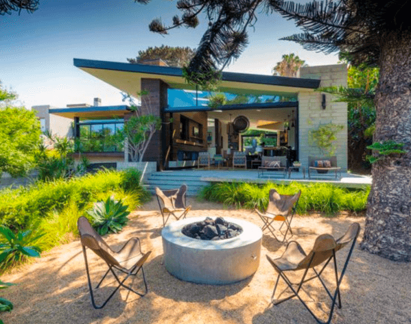 Home Backyard Designs Gravel Patio With Fire Pit