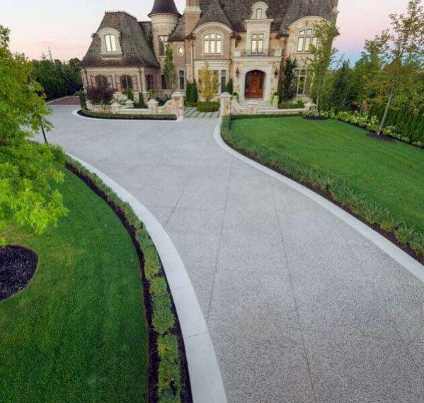 Top 50 Best Concrete Driveway Ideas - Front Yard Exterior ... on Concrete Front Yard Ideas id=67492