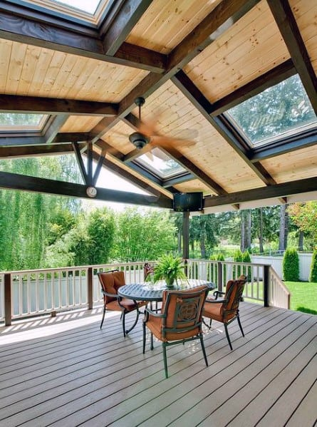 Top 40 Best Deck Roof Ideas - Covered Backyard Space Designs on Patio With Deck Ideas id=78158
