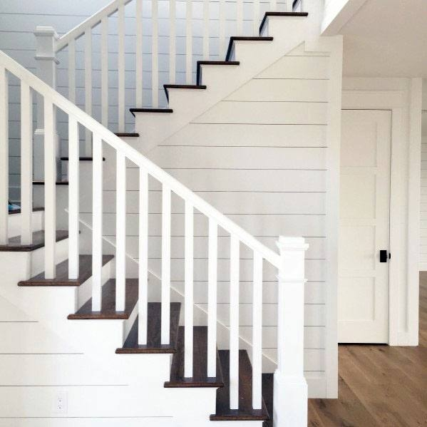 Top 70 Best Stair Railing Ideas Indoor Staircase Designs   White And Wood Banister   Stairwell   Gray White   Contemporary   Classic Wood Stair   Colonial