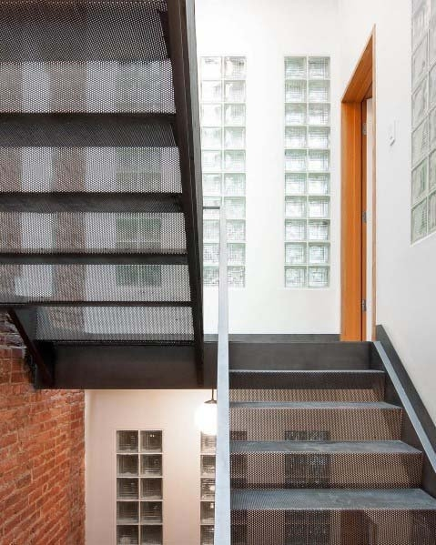 Top 50 Best Glass Block Ideas Obscured Light Designs   Staircase Side Window Designs   Outside Window Frame   Architecture   Small Space   Two Story   Landing