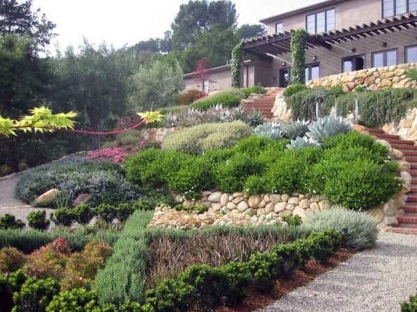 Top 50 Best Slope Landscaping Ideas - Hill Softscape Designs on Backyard With Slope Ideas  id=76946