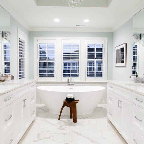 Top 60 Best White Bathroom Ideas - Home Interior Designs on White Bathroom Design Ideas  id=29368