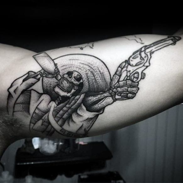 Incredible Mens Skeleton Inner Arm Bicep Tattoo Ideas
