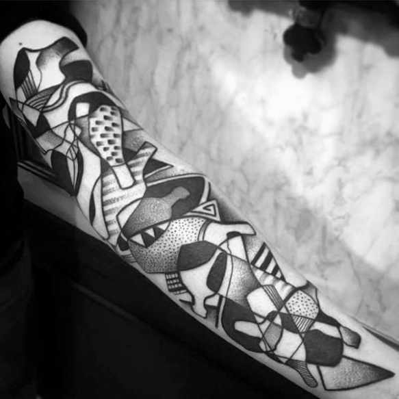 Incredible Tattoo Design Ideas For Males With Abstract Bottle Shapes On Forearm