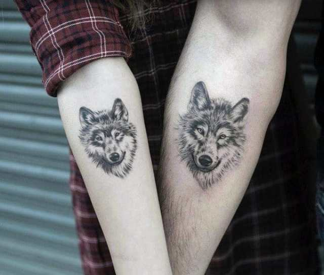 Inner Forearm Wolf Great Couple Tattoos