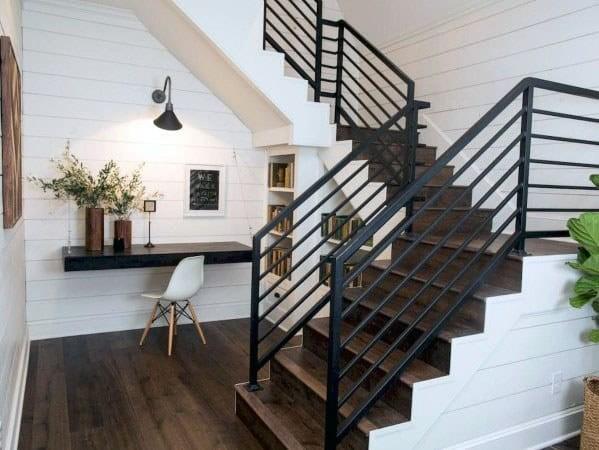 Top 70 Best Stair Railing Ideas Indoor Staircase Designs | Modern Black Metal Stair Railing | Balcony | Really Thin | Outdoor | Metal Mesh | Dark Wood
