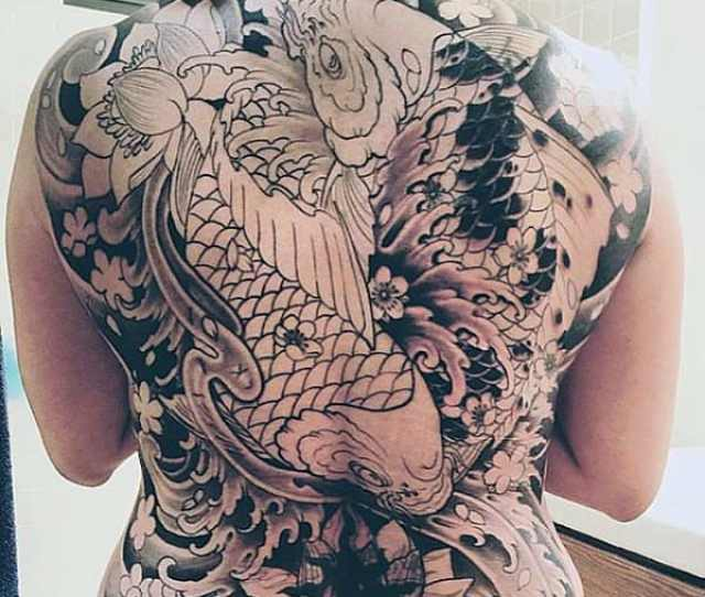 Koi Fish Back Tattoo Designs For Males