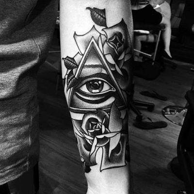 Lovely Grey Shaded Illuminati Tattoo Male Forarms